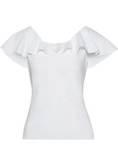 Peter Pilotto Woman Ruffled Cotton-blend Poplin Top White