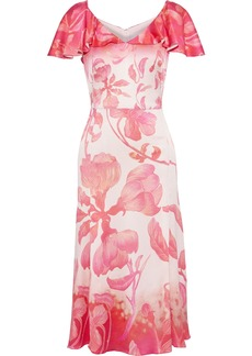 Peter Pilotto Woman Ruffled Floral-print Hammered Silk-blend Satin Dress Pink