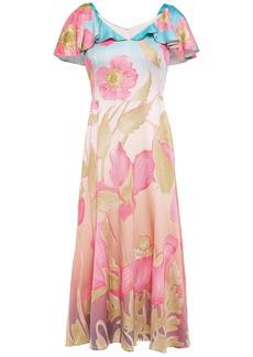 Peter Pilotto Woman Ruffled Floral-print Hammered Silk-blend Satin Dress Sky Blue