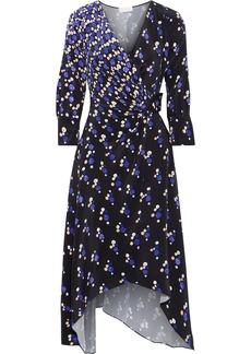 Peter Pilotto Woman Printed Silk Crepe De Chine Midi Wrap Dress Navy