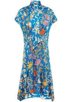 Peter Pilotto Woman Tie-neck Floral-print Hammered Silk-blend Satin Dress Cobalt Blue