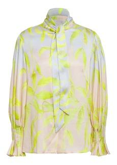 Peter Pilotto Woman Tie-neck Hammered Silk-blend Satin Blouse Pastel Pink