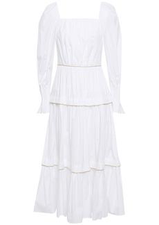 Peter Pilotto Woman Tiered Gathered Metallic-trimmed Cotton-poplin Midi Dress White