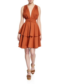 Petersyn Astrid Belted Tiered Plunge Dress