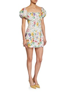 Petersyn Lourdes Square-Neck Floral-Print Mini Dress