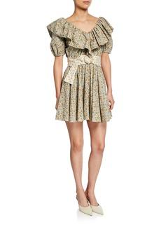 Petersyn Luisa V-Neck Ruffle Short Dress