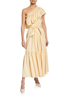 Petersyn Percy One-Shoulder Striped Belted Dress