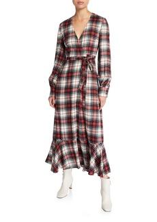Petersyn Salal Plaid Flounce Wrap Dress