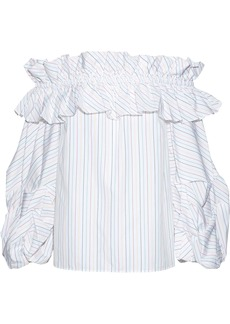 Petersyn Woman Bowie Off-the-shoulder Ruffled Pinstriped Cotton-poplin Blouse White