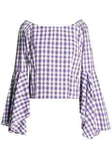 Petersyn Woman Harlan Off-the-shoulder Fluted Cotton-poplin Blouse Violet