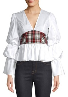 Petersyn Randi Plaid Peplum Top
