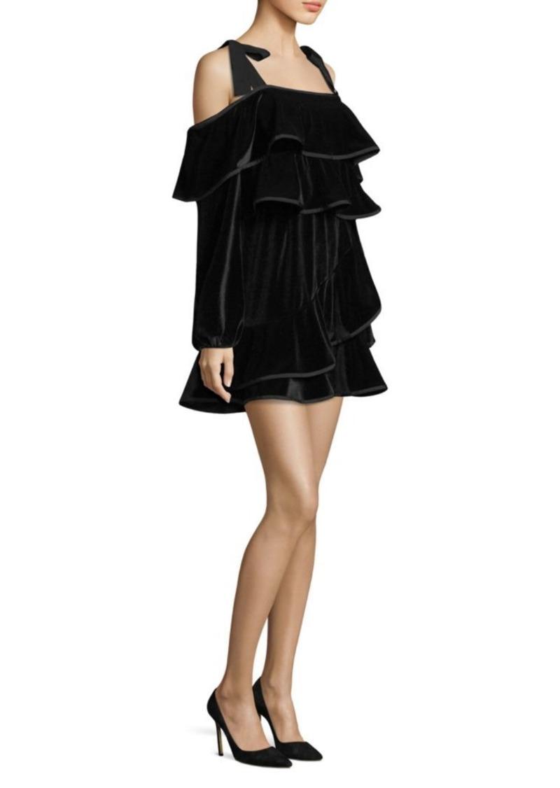 Petersyn Tasha Velvet Ruffle Dress