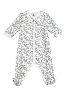 Petit Bateau Floral Velour Footie Pajamas