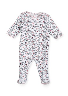 Petit Bateau Back-Snap Wave-Print Footie Pajamas