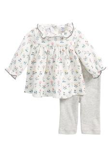 Petit Bateau Floral Print Dress & Leggings Set (Baby Girls)