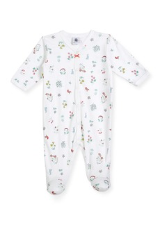 Petit Bateau Flower & Animal-Print Footie Pajamas