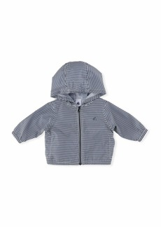 Petit Bateau Hooded Zip-Up Striped Windbreaker Jacket