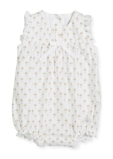 Petit Bateau Ruffle-Sleeve Floral Bubble Romper