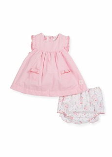 Petit Bateau Ruffle-Sleeves Check Dress w/ Floral Bloomers