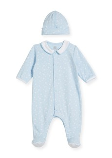 Petit Bateau Sailboat-Print Collared Footed Coverall w/ Baby Hat