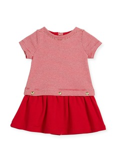 Petit Bateau Short-Sleeve Striped Dress w/ Golden Buttons