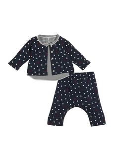Petit Bateau Star-Print Cardigan & Pants w/ Striped Top