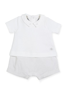Petit Bateau Striped Romper w/ Attached Solid Collared Shirt