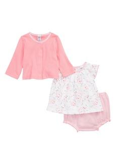 Petit Bateau Top, Cardigan & Shorts Set (Baby Girls)
