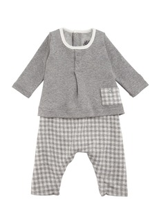Petit Bateau Tahitian Check Pants and Solid Top Set