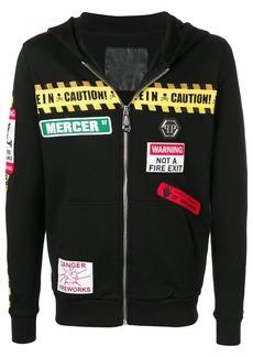 Philipp Plein caution warning hooded jacket