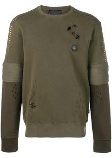 Philipp Plein distressed biker sweatshirt