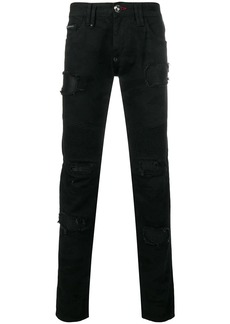 Philipp Plein distressed patch slim-fit jeans