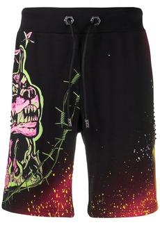 Philipp Plein dog print studded track shorts
