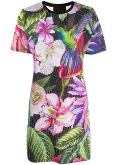 Philipp Plein embellished flower print T-shirt dress