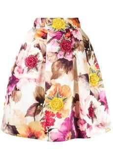 Philipp Plein floral print A-line skirt