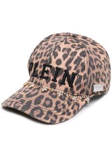 Philipp Plein leopard-print crystal-fringe cap