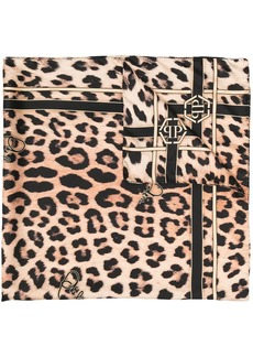 Philipp Plein leopard-print silk scarf