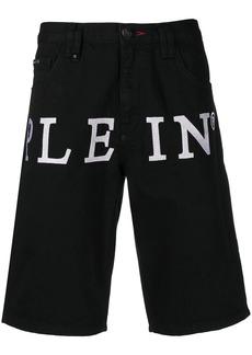 Philipp Plein logo print denim shorts