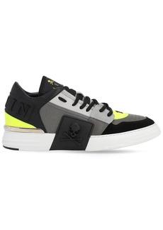 Philipp Plein Mix Leather Skull Sneakers