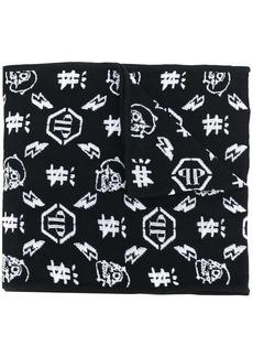 Philipp Plein monogram intarsia scarf