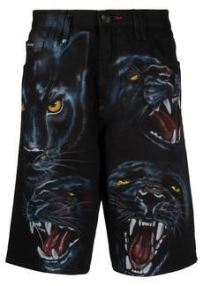 Philipp Plein Mykonos-fit panther print shorts