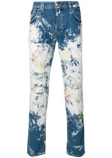 Philipp Plein painted super straight-cut jeans