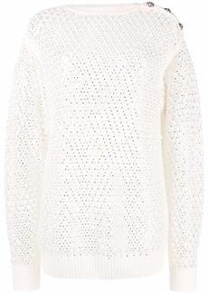 Philipp Plein pointelle-knit crystal-embellished jumper