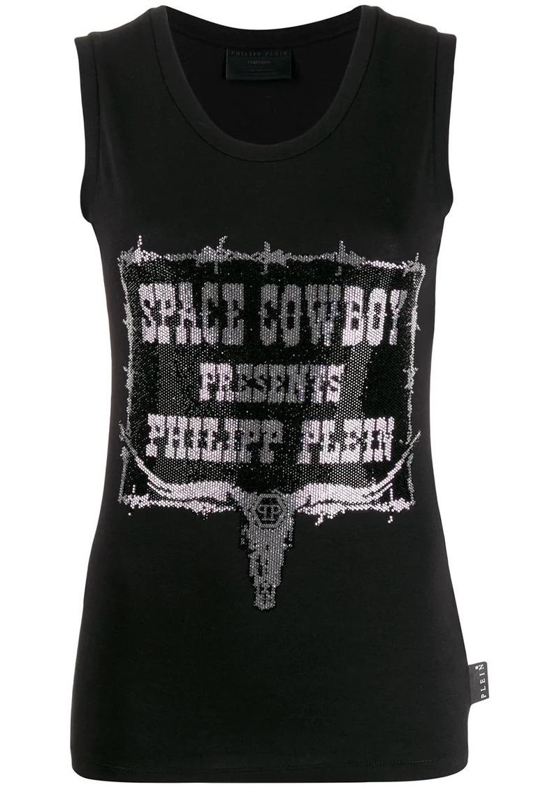 Philipp Plein rhinestone cowboy tank top