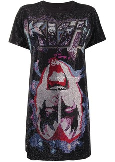 Philipp Plein rock band printed T-shirt dress