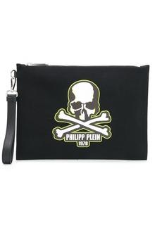 Philipp Plein skull-print clutch bag