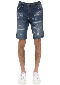 Philipp Plein Slim Distressed Cotton Denim Shorts