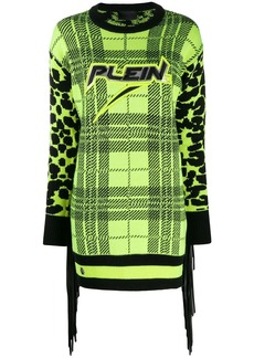 Philipp Plein tartan knitted dress
