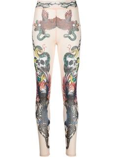 Philipp Plein tattoo-print semi-sheer leggings