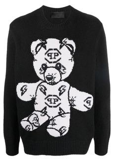 Philipp Plein Teddy Bear embroidered-jacquard jumper